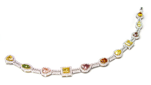 View Multi-color and shape Chain Diamond Ring