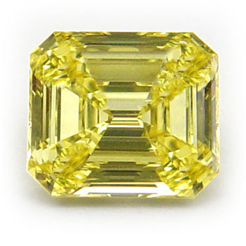 View 0.83 ct. Emerald Cut Fancy Intense Yellow