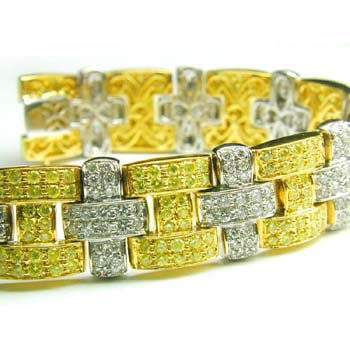 View Linked Yellow and White Diamond Bracelet