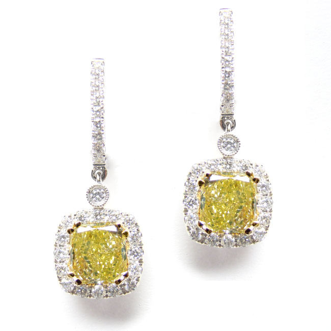 View 4.36 ct. Radiant Fancy Greenish Yellow (Pair)