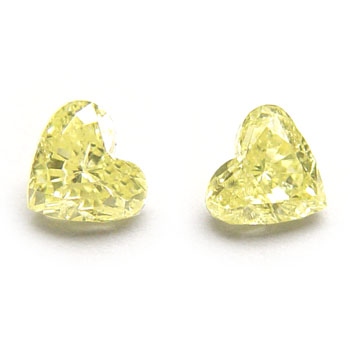 View 0.56 ct. Heart Shape Fancy Yellow (pair)