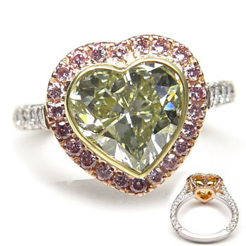 View 3.01 ct. Heart Shape Fancy g. y. GREEN