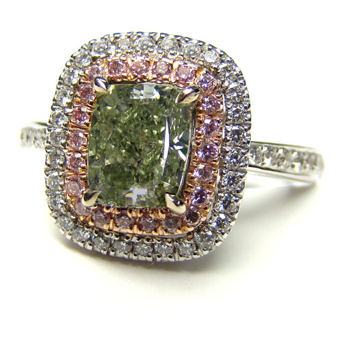 View 1.47 ct. Radiant Fancy g. y. GREEN