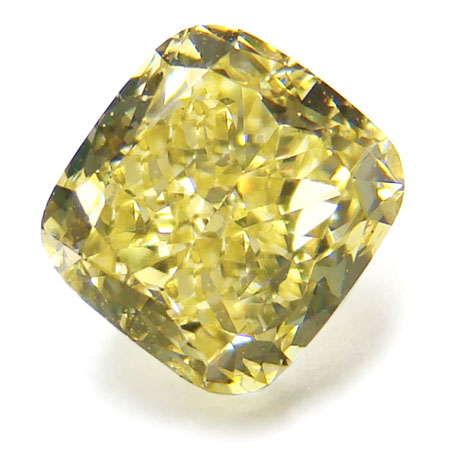 View 0.9 ct. Cushion Fancy Yellow