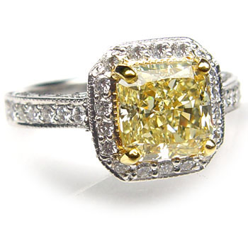 View 2.43ct Fancy L. Yellow Diamond Ring