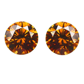 0.63 Round Fancy Deep b. Orange (pair)