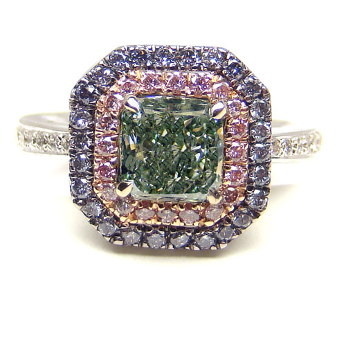 View 1.36ct Fancy g. Green Ring