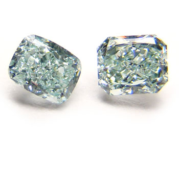View 0.58 ct. Radiant Fancy Bluish Green (pair)