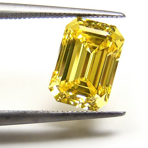 View 1.13 ct. Emerald Cut Fancy Vivid Yellow (Flawless)