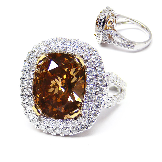View 3.2 ct. Cushion Fancy Dark Orange Brown