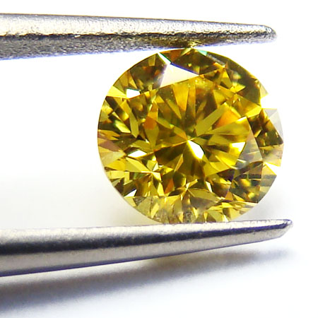 View 0.72 ct. Round Fancy VIVID Yellow