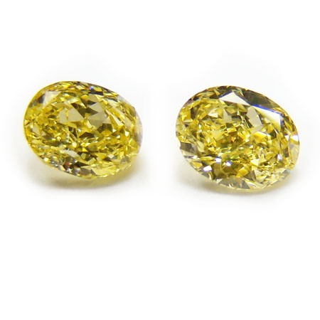 0.9 Oval Fancy Vivid Yellow (Pair)
