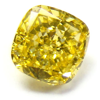 View 0.54 ct. Cushion Fancy Vivid Yellow
