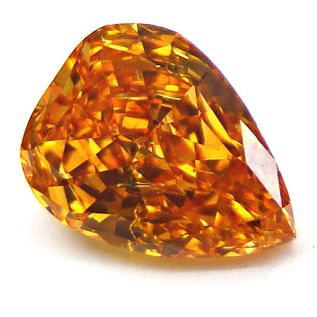 View 0.85 ct. Pear Shape Fancy Vivid y. Orange