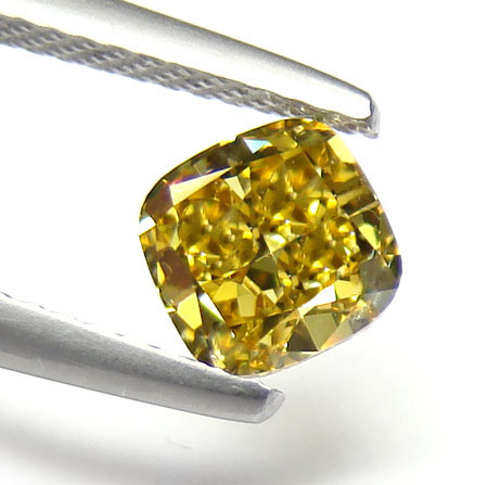 View 1.01 ct. Cushion Fancy Deep b. Yellow