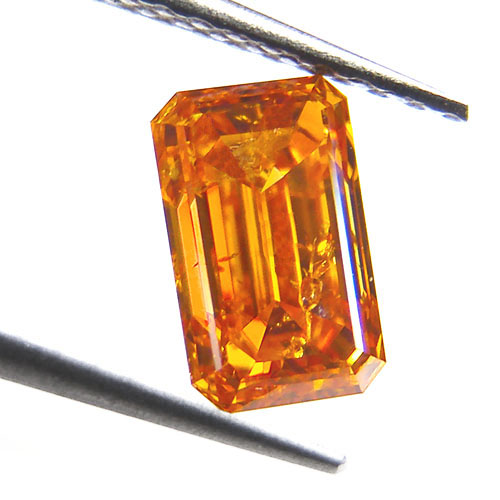 1.1 Emerald Cut FANCY VIVID ORANGE!