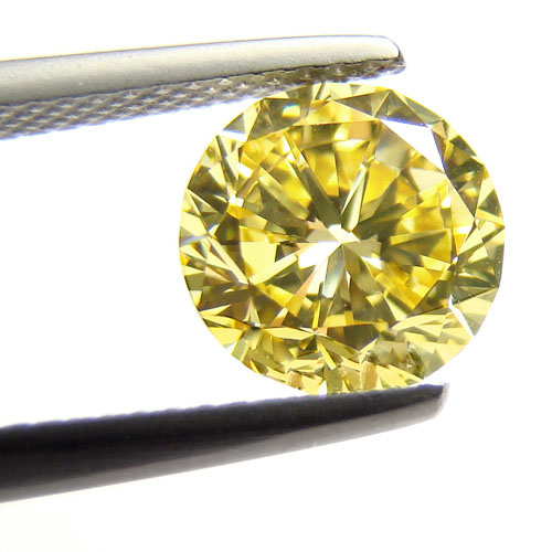 View 1.34 ct. Round Fancy Intense Yellow