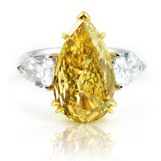 View 5.12 ct. Pear Shape Fancy Deep Yellow