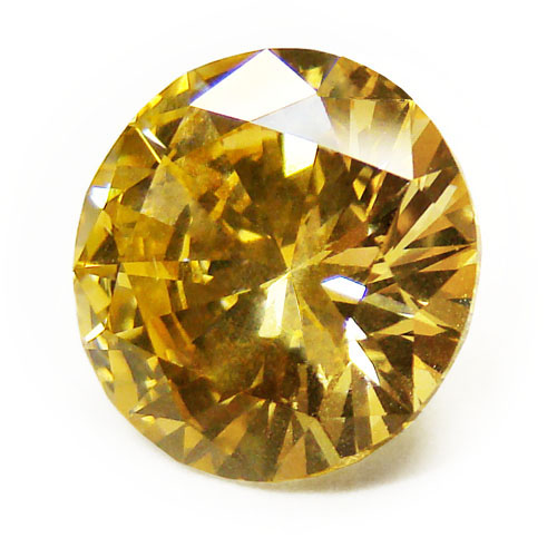View 4.08 ct. Round Fancy Deep Yellow