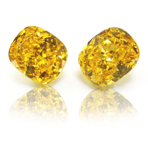 View 1.42 ct. Cushion Fancy VIVID Yellow (ZIMI, Pair)