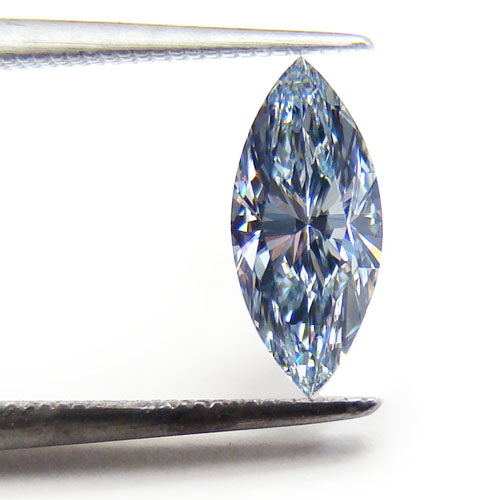 View 0.37 ct. Marquise Fancy Intense Blue (Pot. IF)