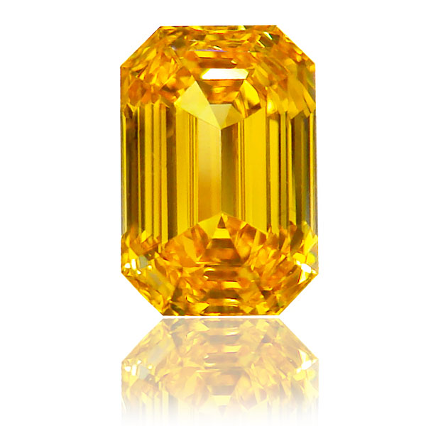 View 1.31 ct. Emerald Cut Fancy VIVID Orangy Yellow