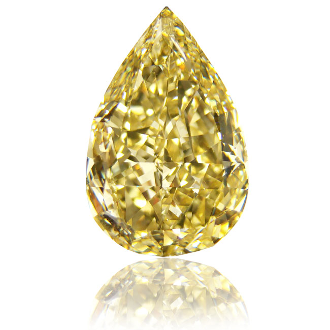 View 10.03 ct. Pear Shape Fancy Intense Yellow