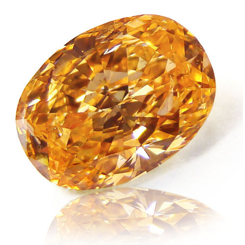 View 1.06 ct. Oval Fancy Vivid Yellow-Orange