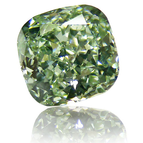 View 1.2 ct. Cushion FANCY INTENSE GREEN! (Flawless)
