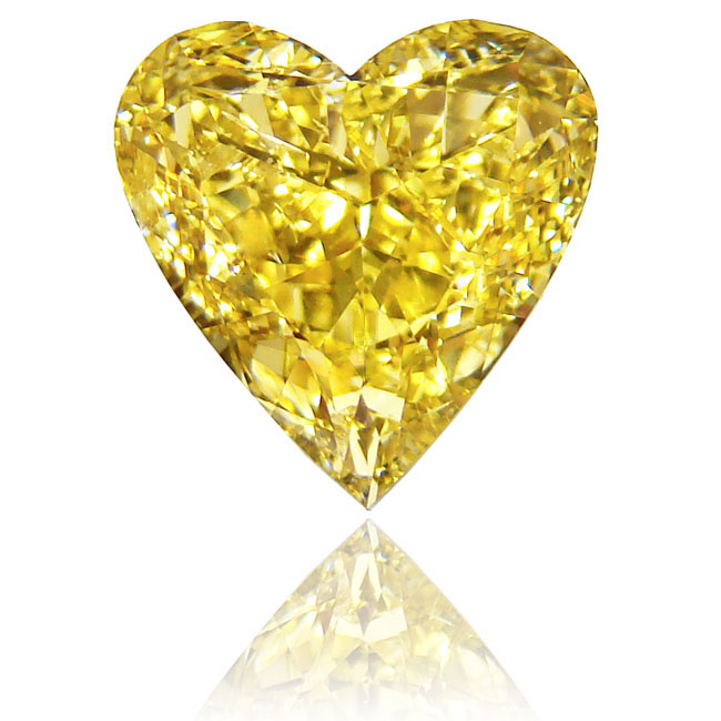 View 5.04 ct. Heart Shape Fancy Vivid Yellow