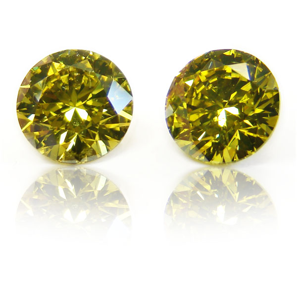 2.04 Round Fancy DEEP b. g. Yellow (Pair)