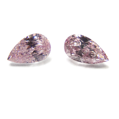View 0.29 ct. Pear Shape Fancy Purplish Pink (Pair)