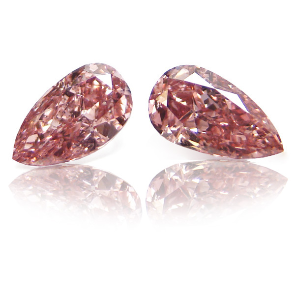 0.7 Pear Shape Fancy Intense o. Pink (Pair)