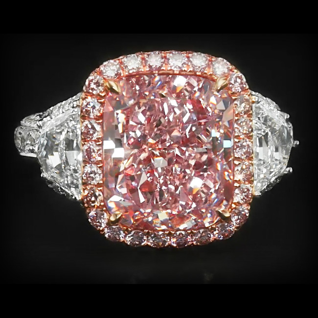 View 8.21 ct. Cushion Fancy Pink