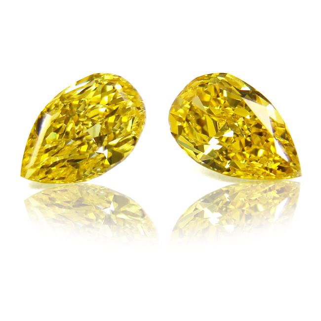 View 1.14 ct. Pear Shape Fancy Vivid Yellow (Pair)