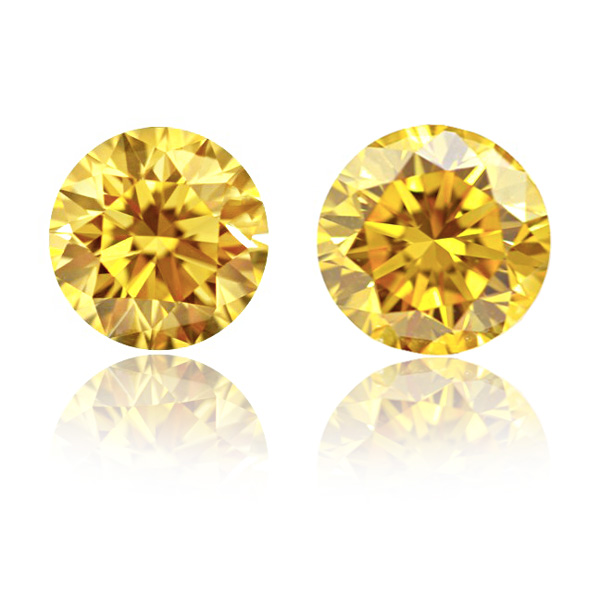 View 1.02 ct. Round Fancy Vivid Yellow (Pair)