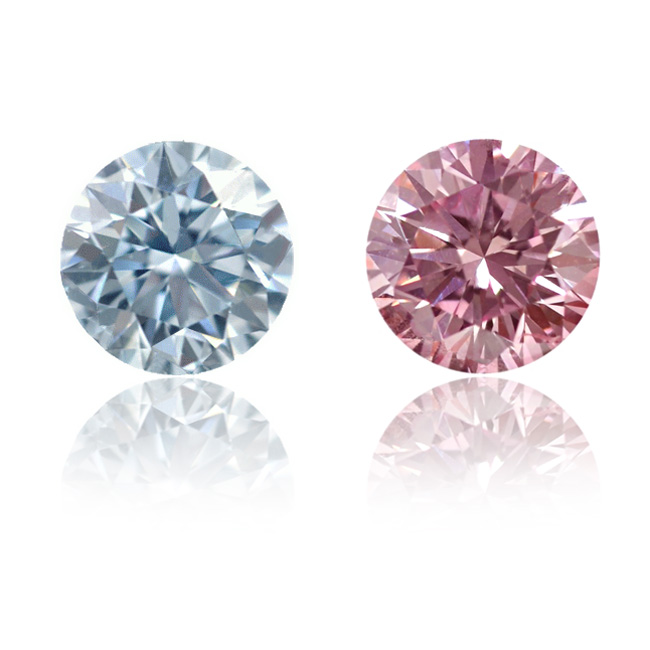 View 1.07 ct. Round Fancy Blue / Fancy Intense Pink (Pair)