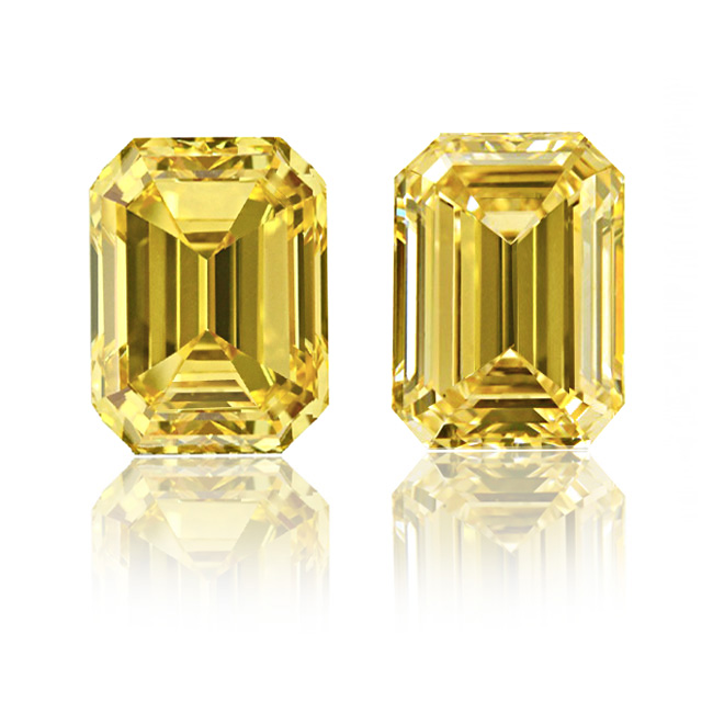 View 1.08 ct. Emerald Cut Fancy Vivid Yellow (Pair)