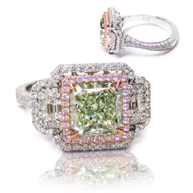 View 2.58 ct. Radiant Fancy Light Yellow Green