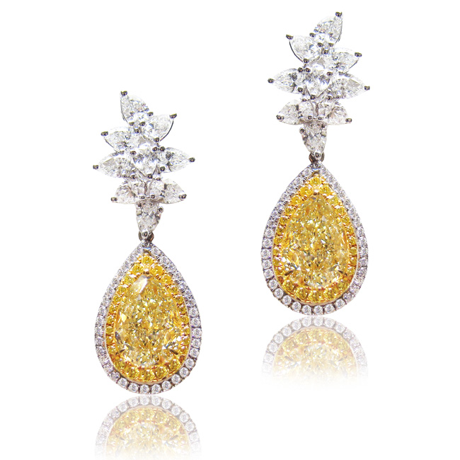 View 4.24 ct. Pear Shape Light Yellow (Pair, Earrings)