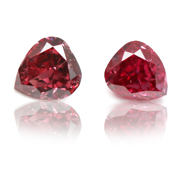 View 0.11 ct. Heart Shape Fancy Red (Pair)