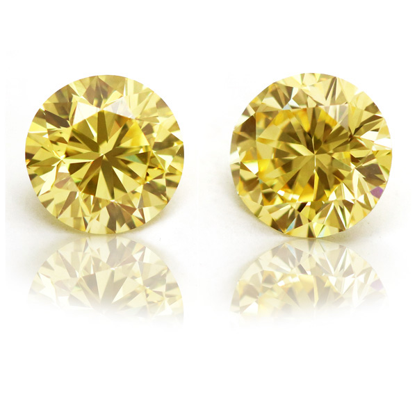 View 2.09 ct. Round Fancy Intense Yellow (Flawless, Pair)