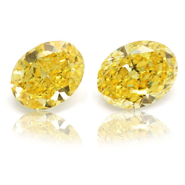 View 2.02 ct. Oval Fancy Vivid Yellow (Pair)