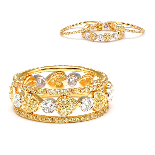 View Yellow and White Diamond Stack Rings