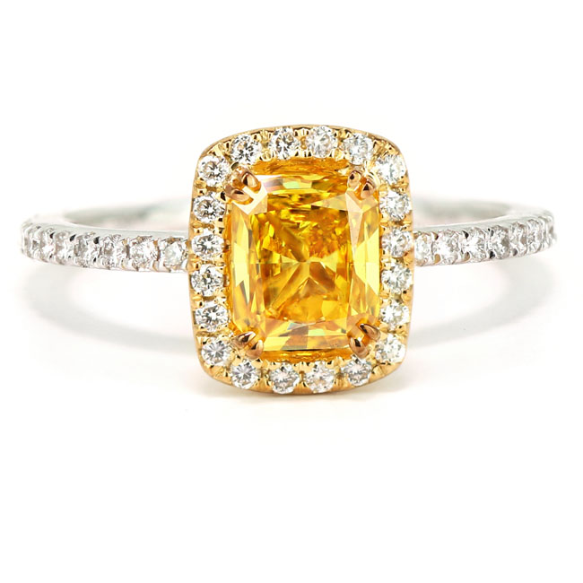 View 1.01 ct. Cushion Fancy Vivid Orangy Yellow