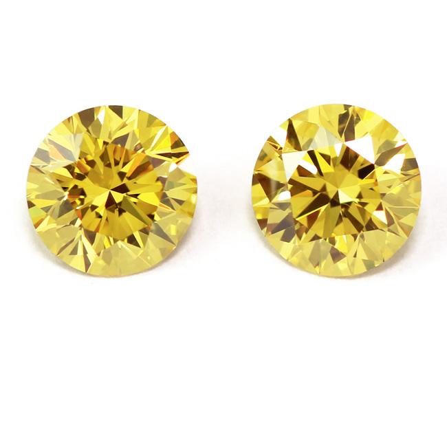 2.05 Round Fancy VIVID Yellow (Pair)