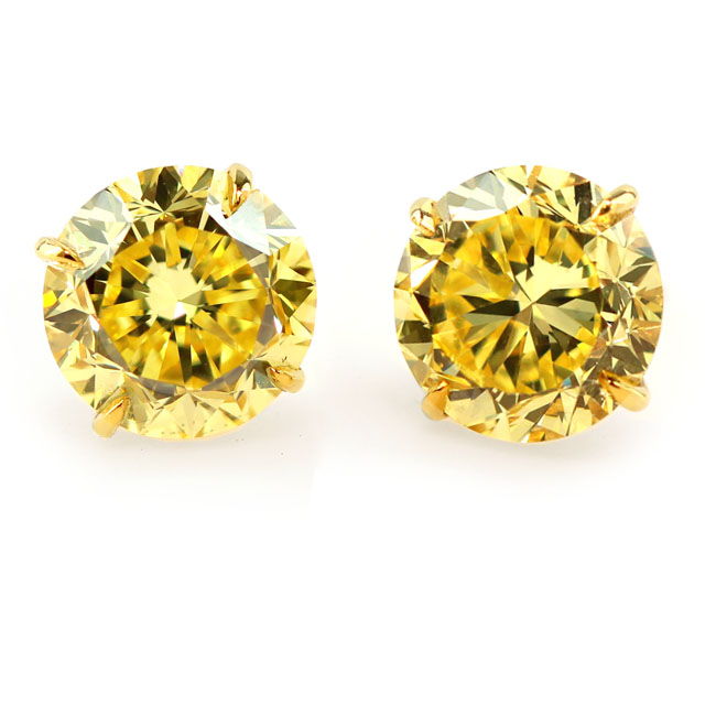 View 5.45 ct. Round Fancy Vivid Yellow (PAIR)