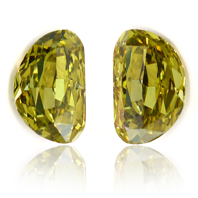 View 0.77 ct. Half Moon Fancy Deep Grayish Greenish Yellow (Pair)