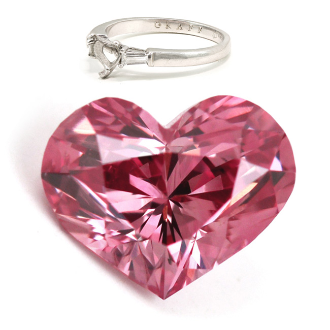 View 0.69 ct. Heart Shape Fancy VIVID Pink (GRAFF)