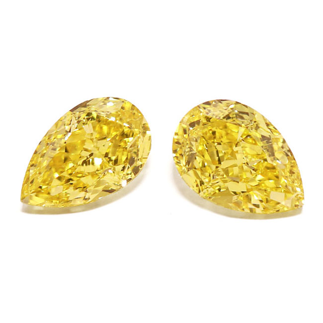 View 2.12 ct. Pear Shape Fancy Vivid Yellow (Pair)